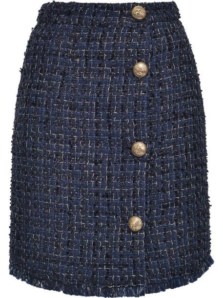 Pinko tweed buttoned skirt in blue