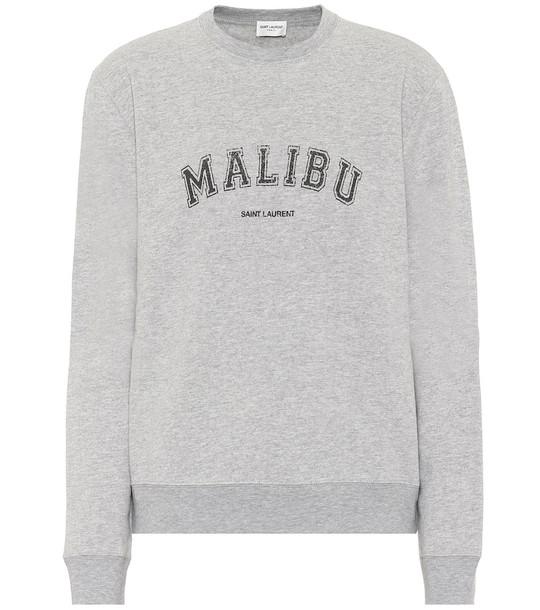 Saint Laurent Cotton-blend jersey sweatshirt in grey