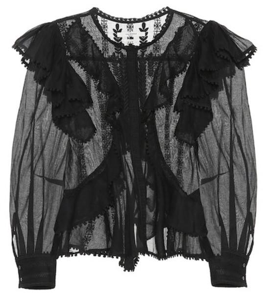 Isabel Marant, Étoile Alia embroidered cotton blouse in black