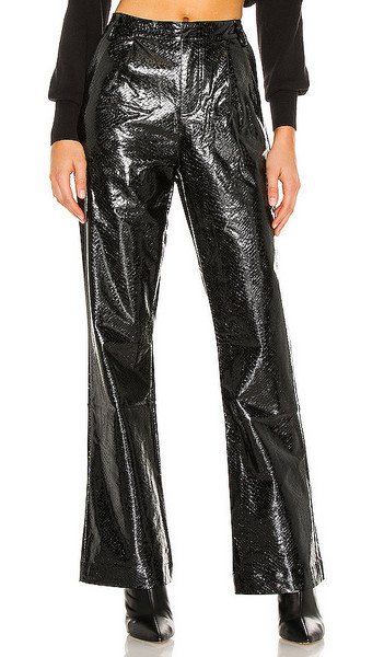 KENDALL + KYLIE KENDALL + KYLIE Vegan Leather Wide Leg Pant in Black