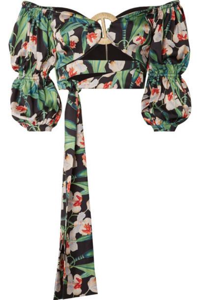 PatBO - Cropped Off-the-shoulder Floral-print Satin Top - Black