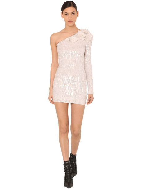 BALMAIN Embellished One Shoulder Mini Dress in silver