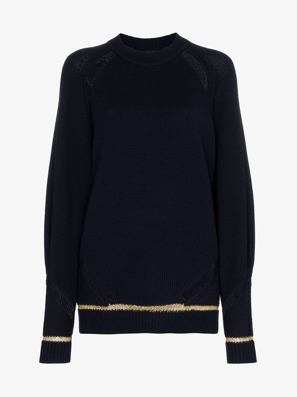 See By Chloé See By Chloé distressed lurex stripe wool blend jumper in blue