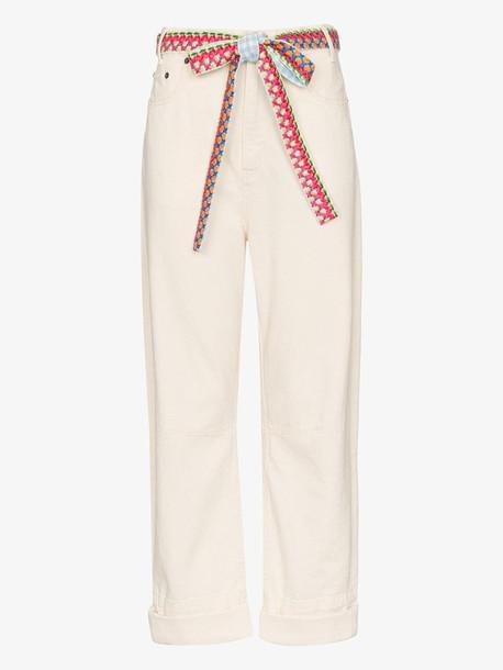 Mira Mikati woven belt wide leg jeans in neutrals