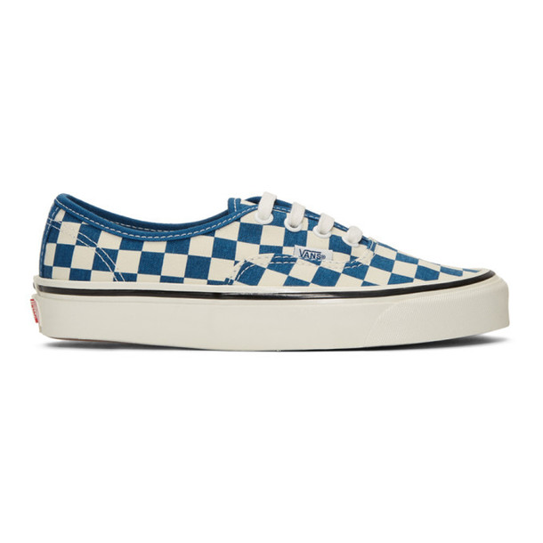 Vans White & Blue Check Authentic 44 DX Sneakers
