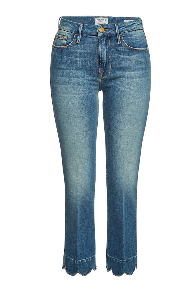 Frame Denim Le Crop Mini Boot Leg Jeans with Scallop Hem  in blue