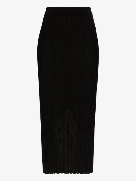Helmut Lang ribbed merino wool blend midi skirt in black