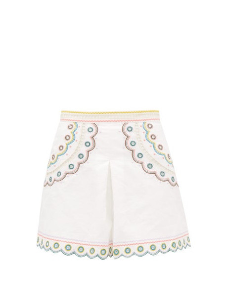 Zimmermann - Peggy High-waisted Embroidered Linen Shorts - Womens - Cream Print