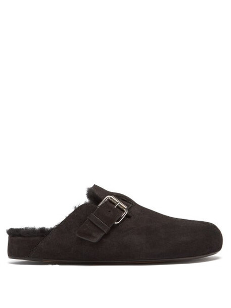 Isabel Marant - Mirving Shearling-lined Suede Backless Loafers - Womens - Black