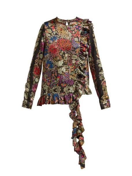By Walid - Floral Print Ruffle Trim Silk Blouse - Womens - Black Print