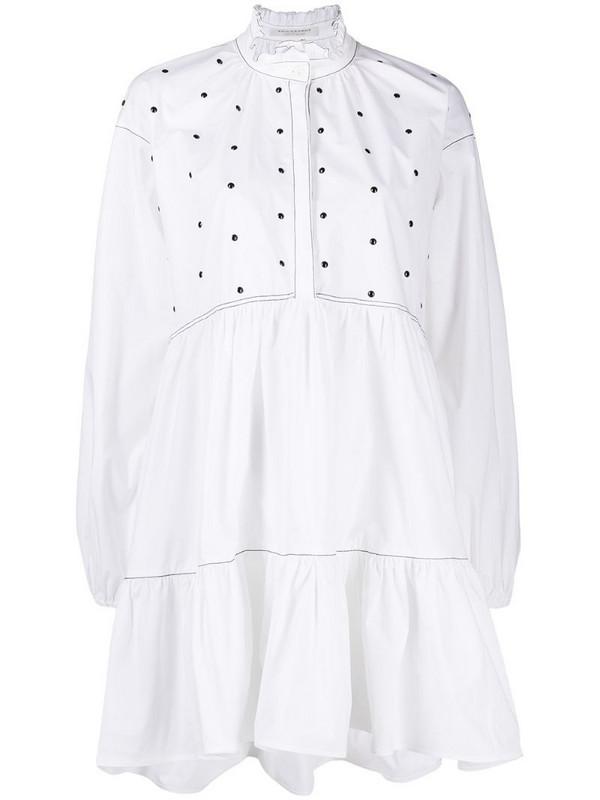 Philosophy Di Lorenzo Serafini studded ruffle neck shirt dress in white