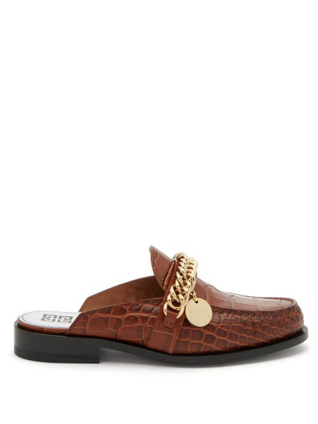 Givenchy - Chain-embellished Leather Backless Loafers - Womens - Tan
