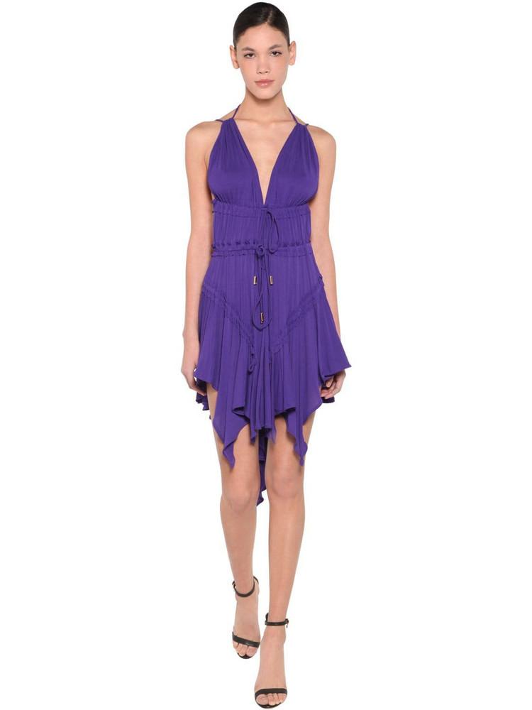 DSQUARED2 Light Viscose Crepe Dress in purple