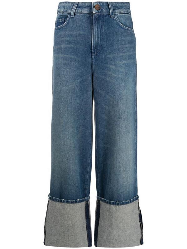 Alysi turn-up hem wide leg jeans in blue