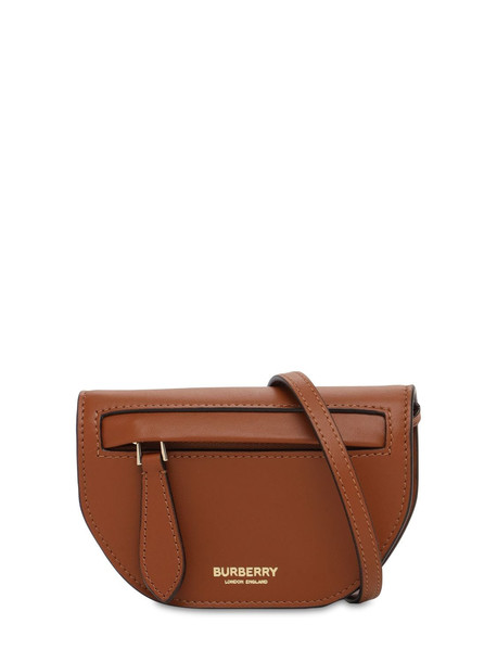 BURBERRY Micro Olympia Leather Shoulder Bag in tan