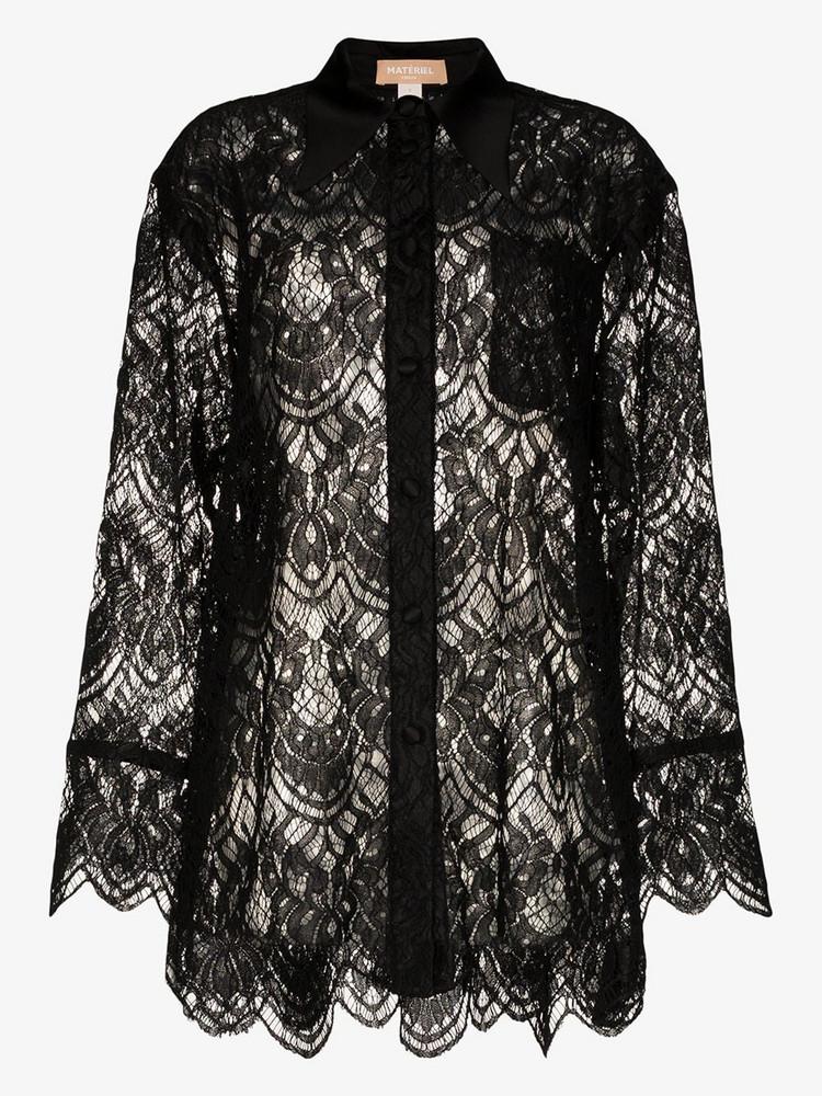 Matériel floral lace silk shirt in black