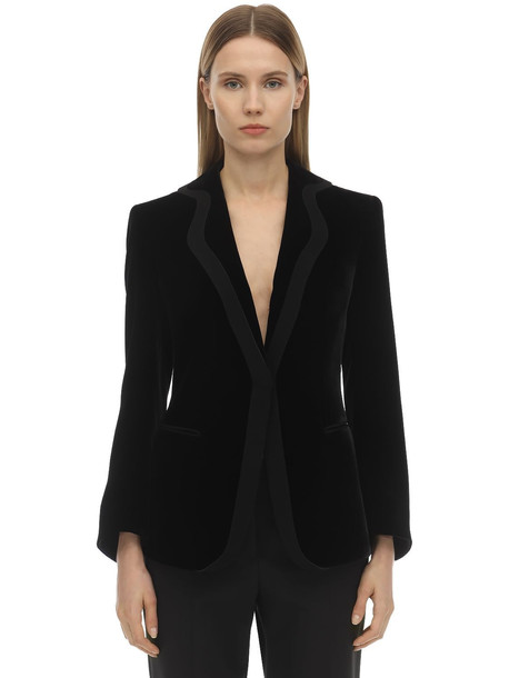 GIORGIO ARMANI Velvet One Breast Blazer Jacket in black
