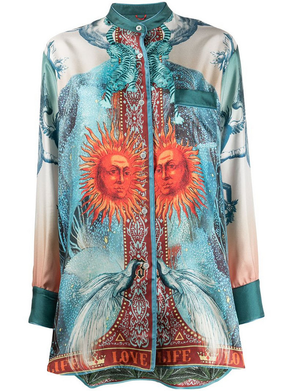 F.R.S For Restless Sleepers Luna silk printed blouse in blue