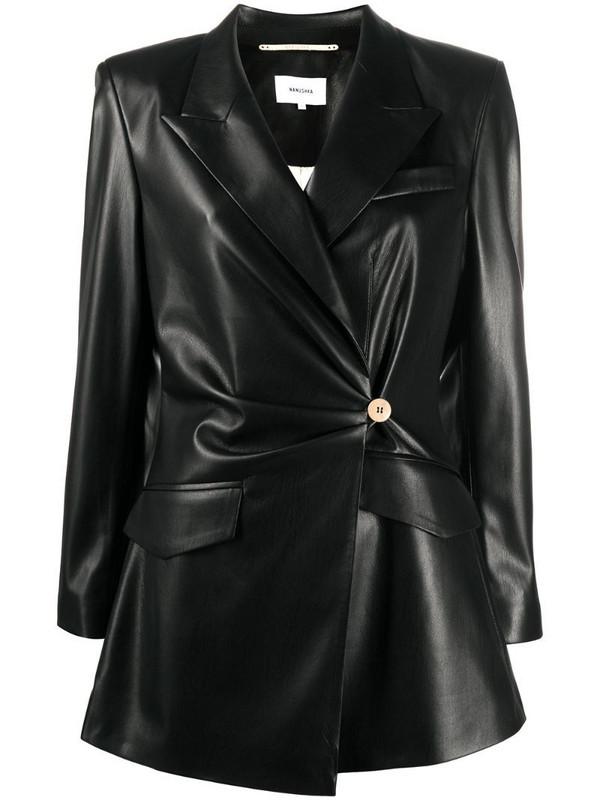 Nanushka Blair vegan leather fitted blazer in black