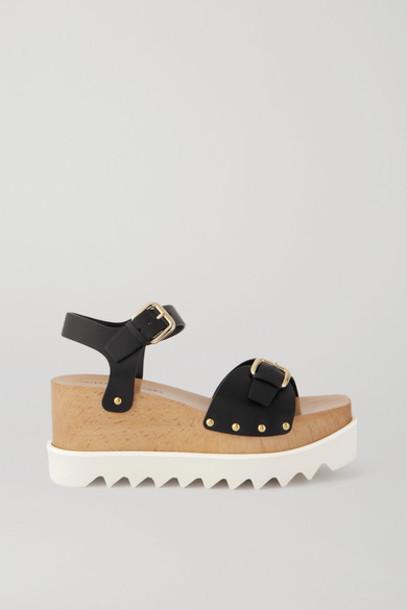 Stella McCartney - Elyse Studded Vegetarian Leather Platform Sandals - Black