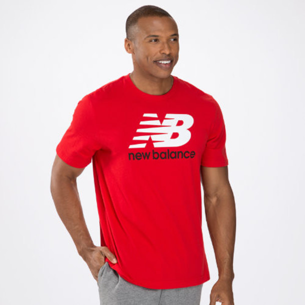 New Balance 3170 Men's Essentials Short Sleeve Tee - Crimson, White (MET3170CR)