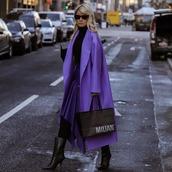 coat,oversized coat,purple,black boots,tights,asymmetrical skirt,midi skirt,black turtleneck top,turtleneck sweater