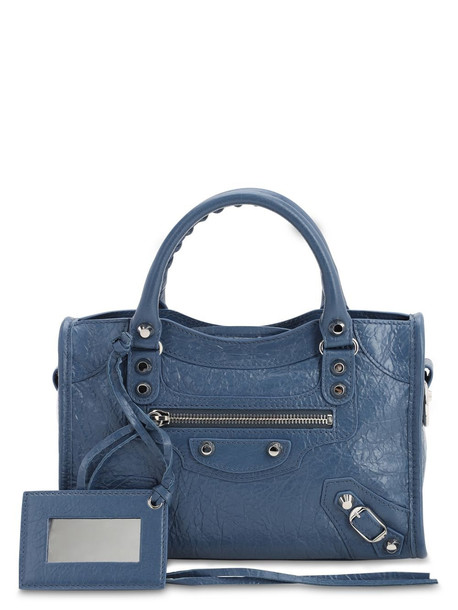 BALENCIAGA Mini Classic City Leather Bag in denim / denim