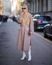 shoes,knee high boots,white boots,long coat,plaid,pink coat,handbag,sweater