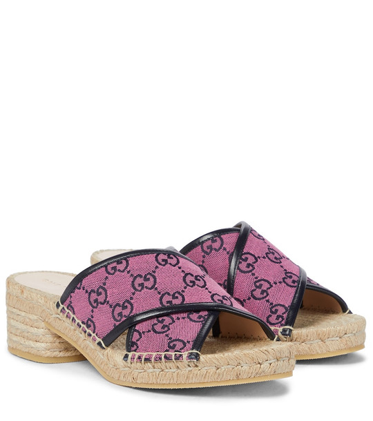 Gucci GG Multicolor canvas espadrille sandals in pink