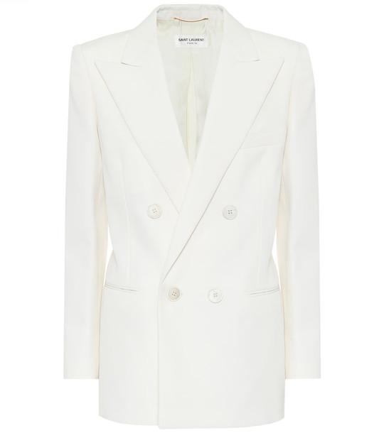 Saint Laurent Wool-twill blazer in white