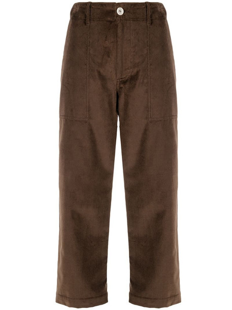 Jejia cropped straight-leg trousers in brown