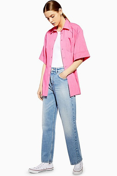 Topshop *Straight Jeans By Boutique - Bleach Stone