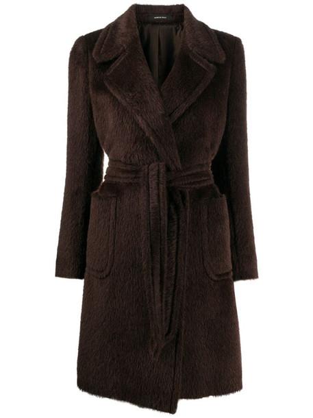Tagliatore Dolly belted virgin wool coat in brown