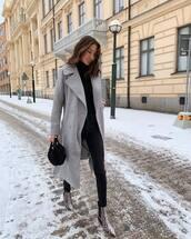coat,long coat,grey coat,double breasted,snake skin,ankle boots,black skinny jeans,black turtleneck top,black bag,handbag