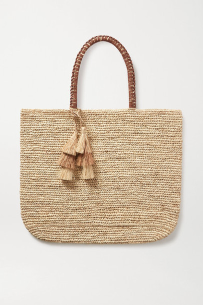Kayu - Haven Tasseled Leather-trimmed Straw Tote - Neutral