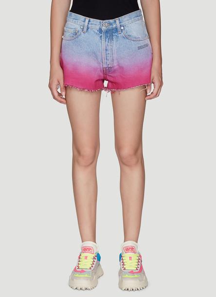 Off-White Ombré Boyfriend Shorts in Blue size 27