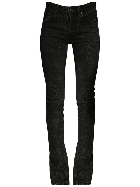 BALENCIAGA Stretch Cotton Denim Flared Jeans in charcoal