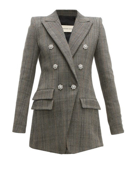 Alexandre Vauthier - Double Breasted Crystal Button Blazer - Womens - Grey Multi