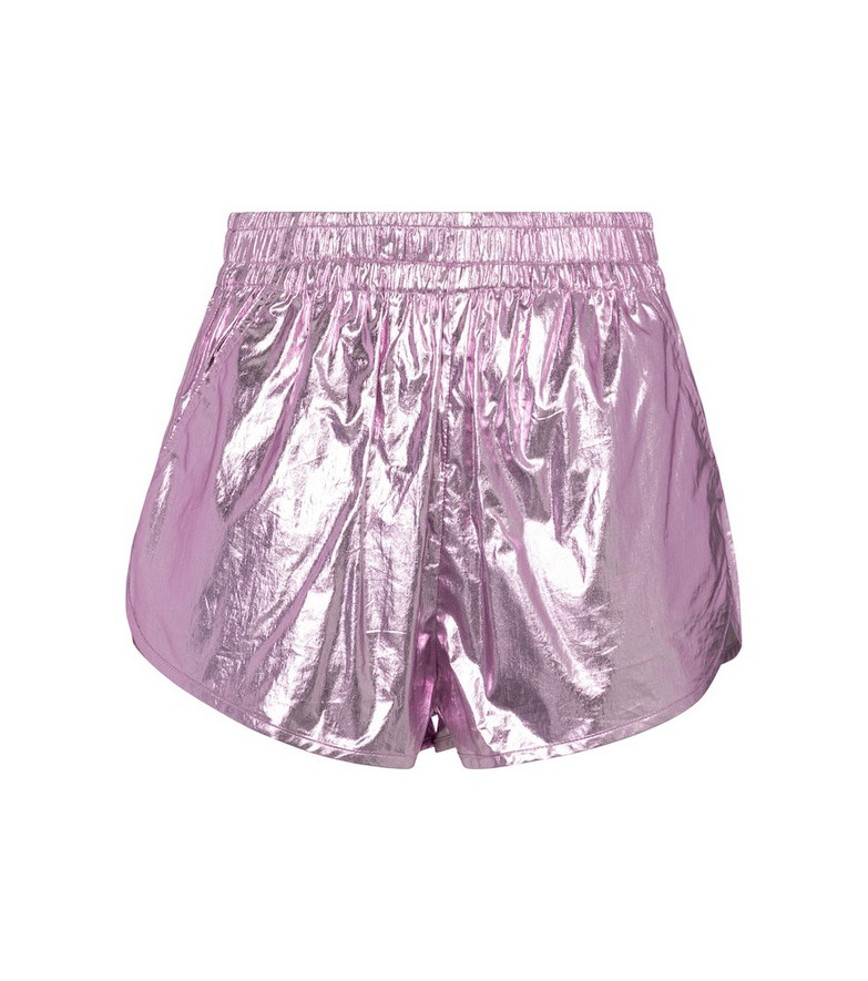Isabel Marant Gateci metallic-coated cotton shorts in purple