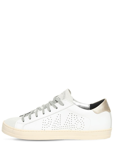 P448 20mm John Leather & Suede Sneakers in gold / white