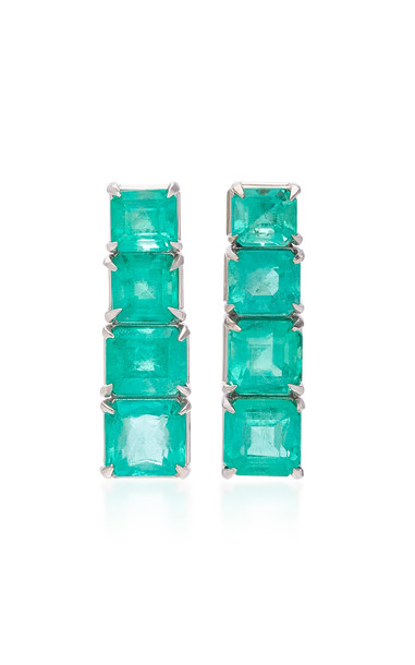 Maria Jose Jewelry 18K White Gold and Emerald Earrings in green