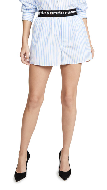 Alexander Wang Boxer Shorts with Logo Elastic in blue / white