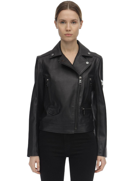 KARL LAGERFELD Handmade Painted Leather Biker Jacket in black