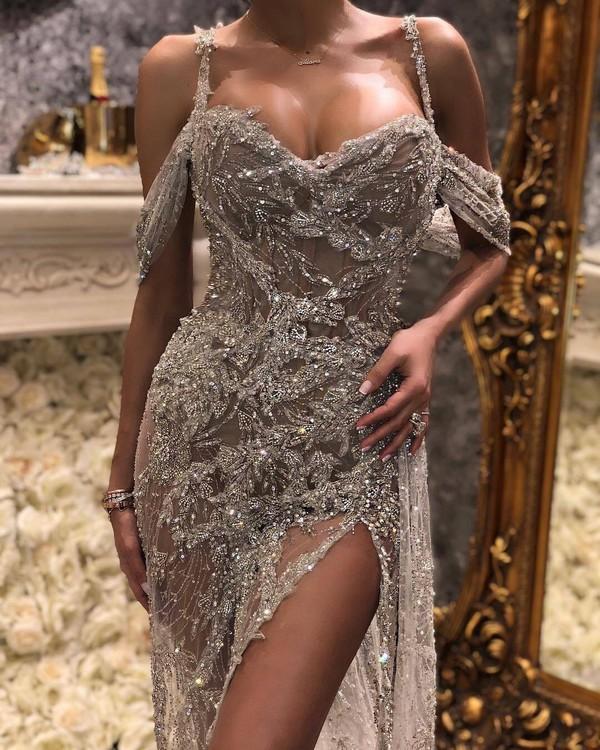 dress crystal prom dress gown silver dress