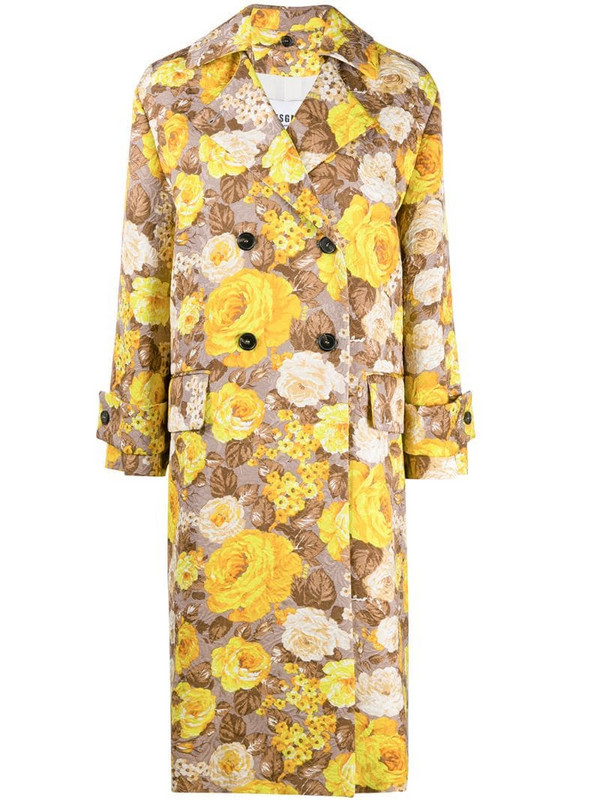MSGM floral pattern trench coat in neutrals