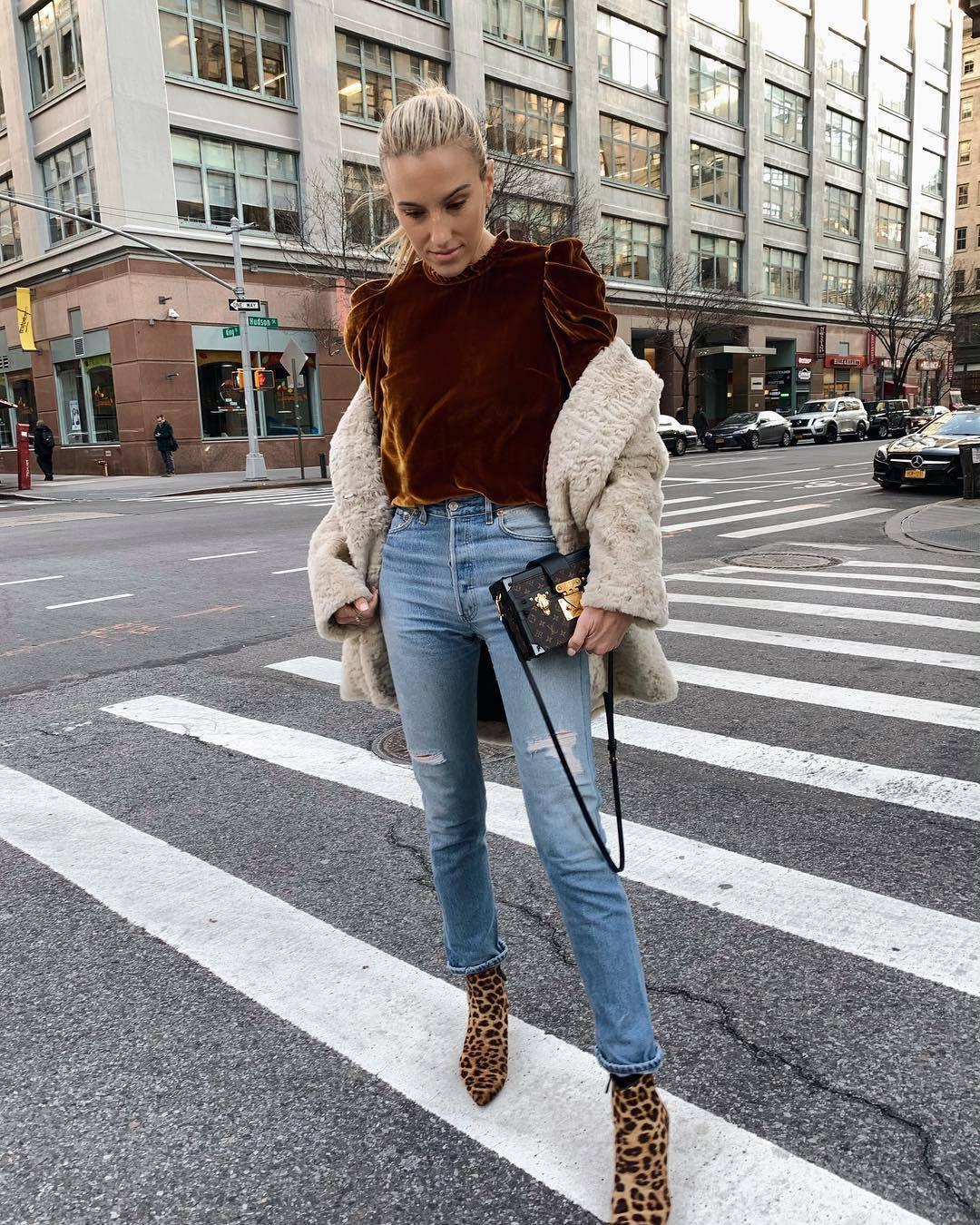 top velvet top leopard print ankle boots heel boots ripped jeans louis vuitton bag coat