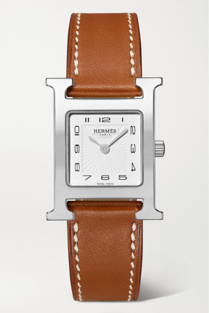 Hermès Timepieces - Heure H 21mm Small Stainless Steel And Leather Watch - Brown