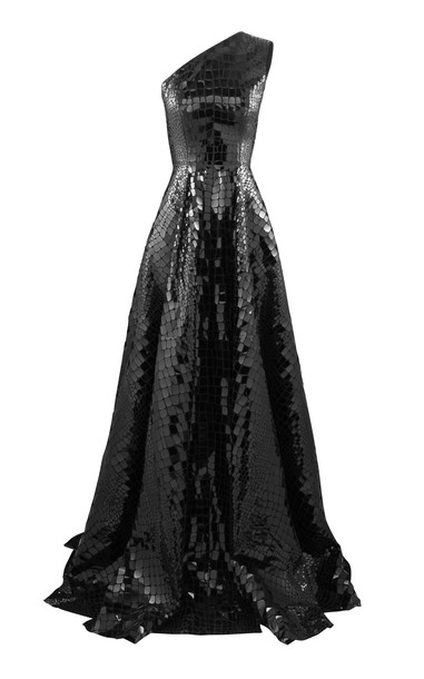 Alex Perry Jasper Sequined Croc-Effect One-Shoulder Gown Size: 8 in black