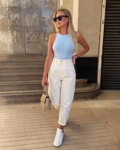 underwear,bodysuit,white pants,high waisted pants,white sneakers,bag