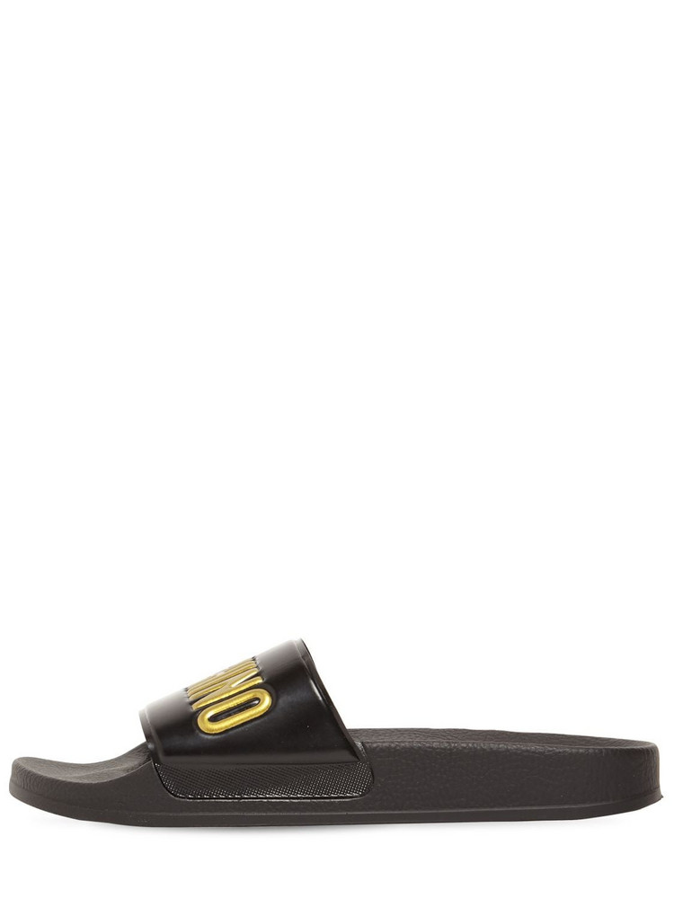 MOSCHINO 25mm Pool Slide Sandals in black / gold